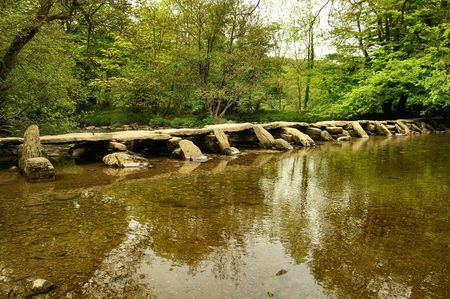 exmoor: Tarr Steps bridge Exmoor Somerset Stock Photo