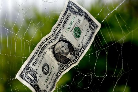 overspending: A US dollar bill in a spiders web portrays the concept of being caught in a financial web Stock Photo