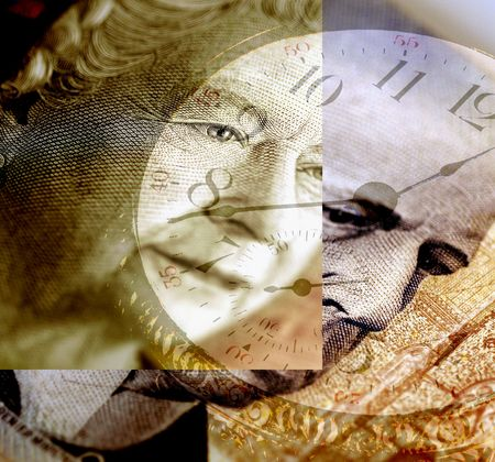 canadian currency: Canadian Business And Investment - a composite of Canadian currency and a clock.