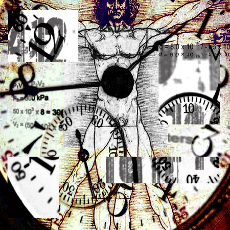 davinci: Vitruvian Man Grunge - Time Concepts - Image is square. This is an abstract image with purposefully high contrast and sharp corners.
