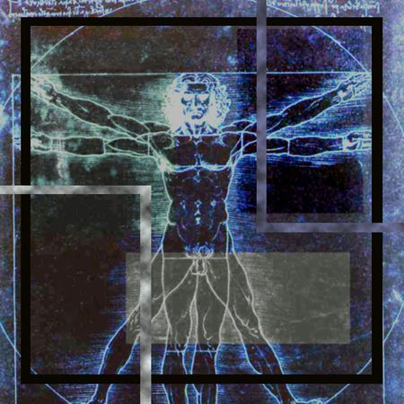 proportions of man: Vitruvian Man Abstraction - Image is square.