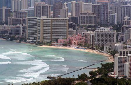 waikiki beach: Waikiki Beach And Downtown Honolulu