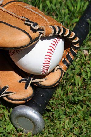 Glove, bat, and ball on grass Stock Photo - 456202