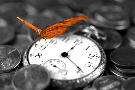 monies: Business Success Concept - Butterfly on Pocket-watch Stock Photo