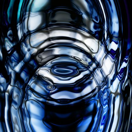 emanation: Concentric Blue Ripples in a calm pool of water Stock Photo