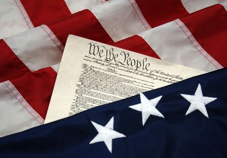 founding: American Beginnings - Betsy Ross colonial flag and United States Constitution