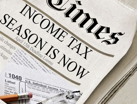 federal tax return: Income Tax Season is now - Newspaper (ficititious) headlines about Income Tax Time. Also includes image of 1040 income tax form. Stock Photo