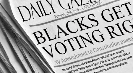 vote: XVth Amendment to the US Constitution - newspaper reproduction of Blacks (and all races) getting voting rights on February 26th, 1869.