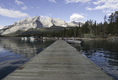 tour boats: Dock and tour boats at Lake Minnewanka, Banff, Alberta, Canada.