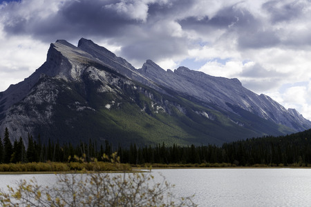 alberta: A view across Vermilion Lakes towards Mount Rundle and the town of Banff. Banff National Park, Alberta, Canada.