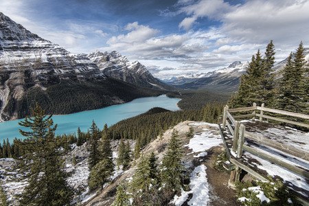 accessed: Picturesque Peyto Lake, in Banff National Park. Peyto Lake (pea-toe) is a glacier-fed lake located in Banff National Park in the Canadian Rockies. The lake itself is easily accessed from the Icefields Parkway. Stock Photo