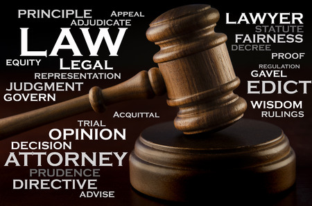 describe: Words of the law - wooden judges gavel and words that describe the legal profession.