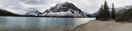 rockies: Bow Lake Panoramic. Bow Lake is a small lake in western Alberta, Canada. It is located on the Bow River, in the Canadian Rockies, at an altitude of 1920 m.