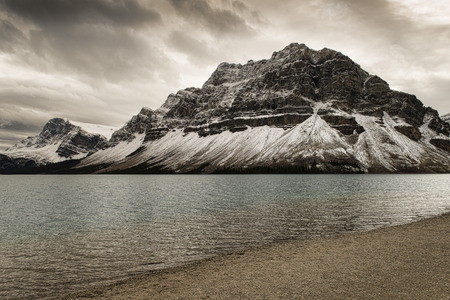 rockies: Bow Lake is a small lake in western Alberta, Canada. It is located on the Bow River, in the Canadian Rockies, at an altitude of 1920 m.