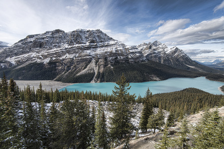 accessed: Picturesque Peyto Lake, in Banff National Park.Peyto Lake (pea-toe) is a glacier-fed lake located in Banff National Park in the Canadian Rockies. The lake itself is easily accessed from the Icefields Parkway.