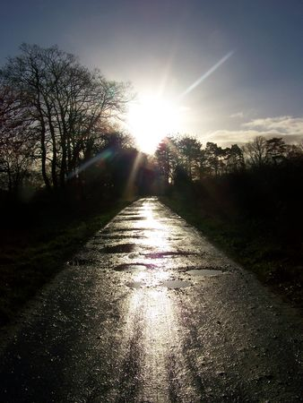 sun shining down on a track reflectin on the puddles photo