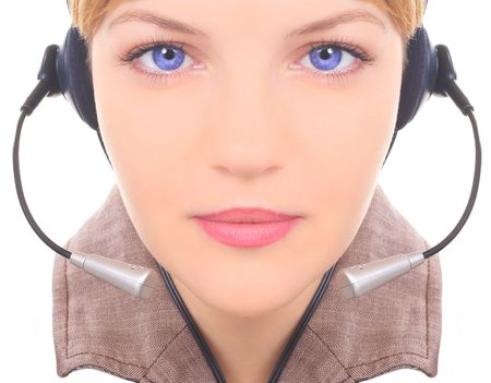 girl the operator in headphones with a microphones Stock Photo - 814825