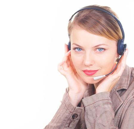 telephone saleswoman: girl the operator in headphones with a microphone