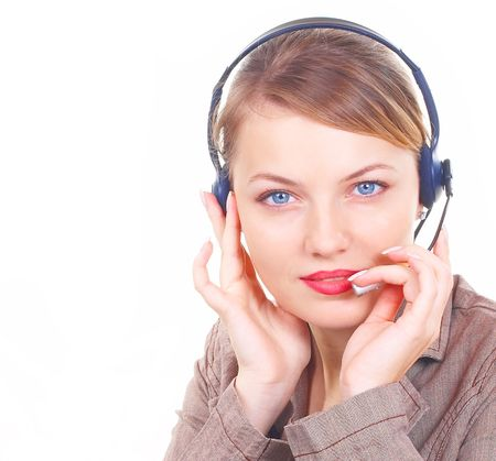 girl the operator in headphones with a microphone Stock Photo - 814834
