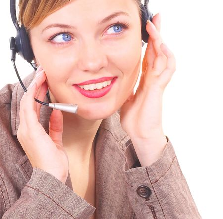 girl the operator in headphones with a microphone Stock Photo - 814836