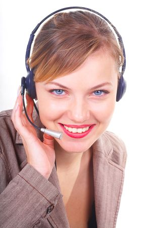 girl the operator in headphones with a microphone Stock Photo - 814837
