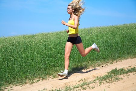 The girl runs Stock Photo