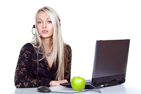 The girl the operator in headphones with a microphone Stock Photo