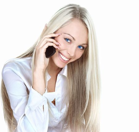attractive young woman calling by cellular phone Stock Photo