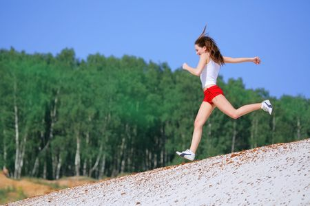 girl runs Stock Photo - 1170931