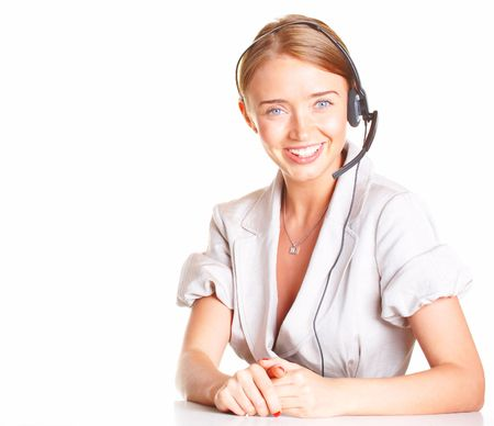 girl the operator in headphones with a microphone Stock Photo - 1311462