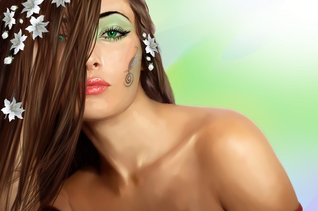 girl with green eyes (Painting on a photo)