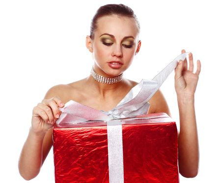woman with gift box Stock Photo - 2204960