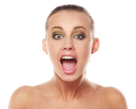 wail: Face of a young crying woman Stock Photo