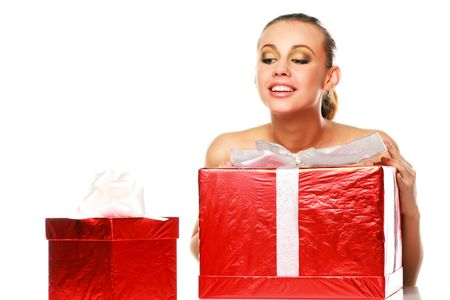 woman with gift box Stock Photo - 2204967