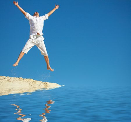 man jumps Stock Photo