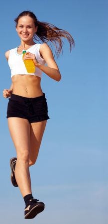girl runs Stock Photo - 3350984