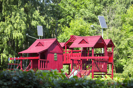Solar battery powers an electric lamp in the park