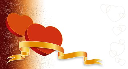 seduce: Two Valentines hearts on red-white background ready to use in several designs