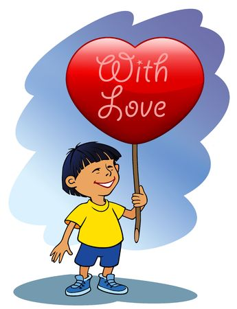 A boy holding big Valentines heart photo