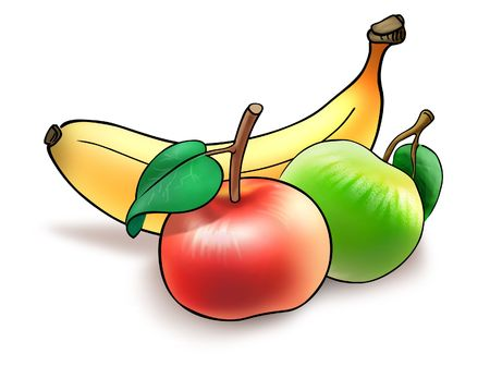 Illustration of banana and two apples collected for lunchtime Stock Photo