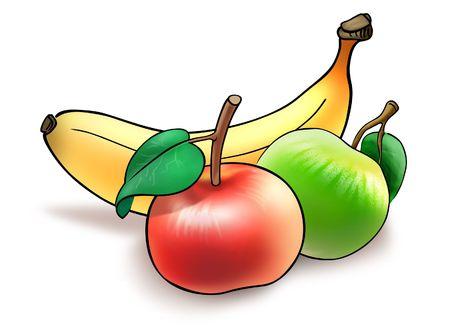 Ilustración de plátano y dos manzanas recogidos para la hora del almuerzo