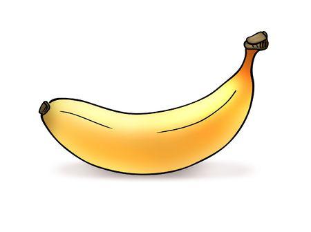 vegetal: Illustration of yellow banana on white background
