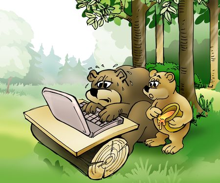 Brown bear and bear cub surfing on the laptop