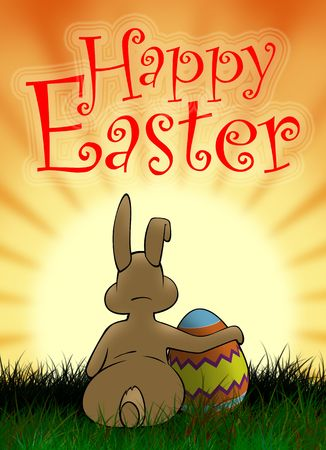 hallelujah: Easter bunny with painted egg looking at the sun Stock Photo