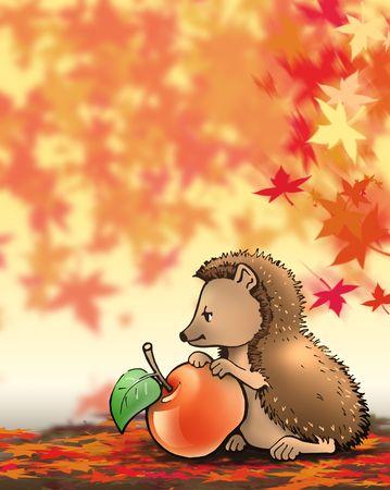 freshest: Little hedgehog with apple (autumn)