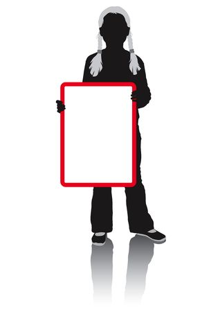 Silhouette schoolgirl holding a blank poster. Ready for signage, branding and advertising. Colours of all clothes easily changed. photo