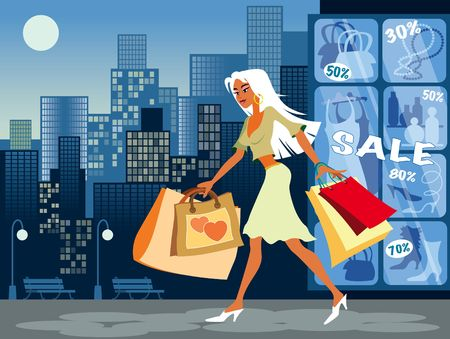 woman holding money: Vector illustration of girl with shopping bags on the sales