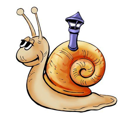 Ilustración de un caracol feliz sobre fondo blanco.