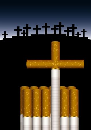illustration of cigarettes composed to a grave illustration