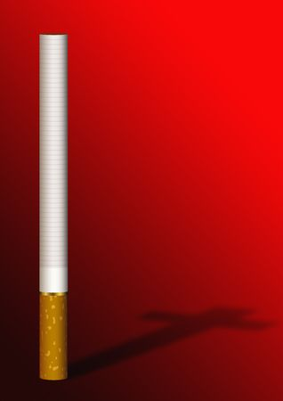 carcinogen: Cigarette cross shadow on a red background Stock Photo